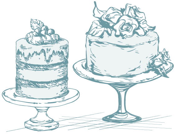 Icon: drawing of two gourmet cakes