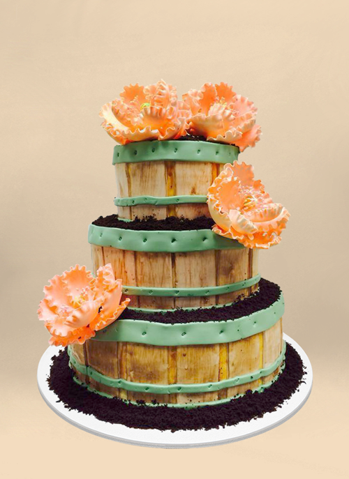 Photo: 3 tier crate fondant cake overflowing with oreo dirt and large orange sugar flowers