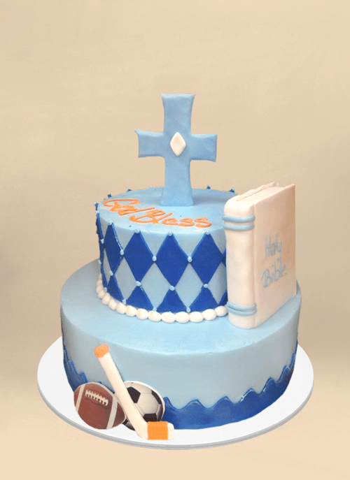 Photo: 2 tier blue frosted cake with bible, sports equipment, cross