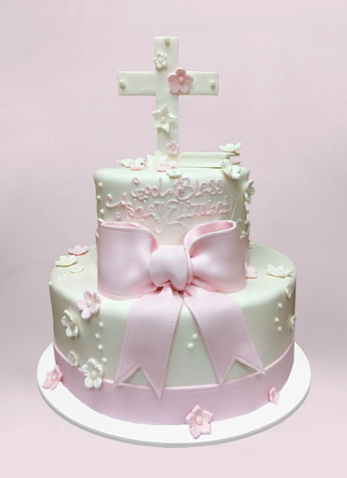 Photo: white fondant cake with pink accents