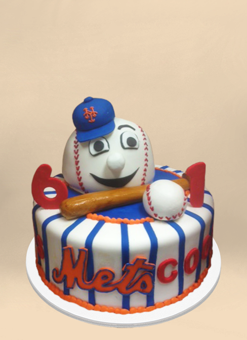 Photo: mets cake with dimensional baseball mascot and bat