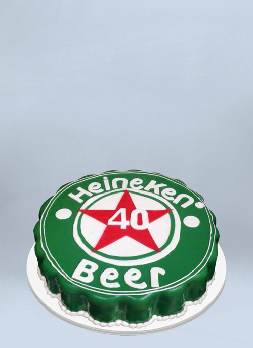 Photo: one tier Heineken cap cake