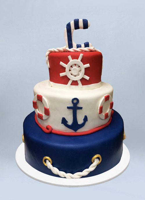 Photo: red, white blue, nautical cake fondant objects